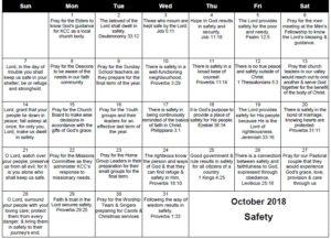 October Prayer Calendar