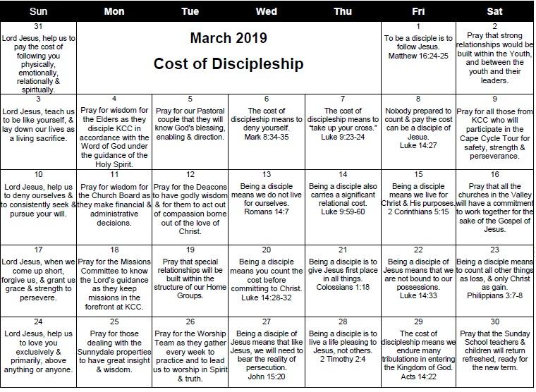 March 2019 Prayer Calendar