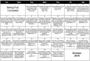 October 2019 Prayer Calendar